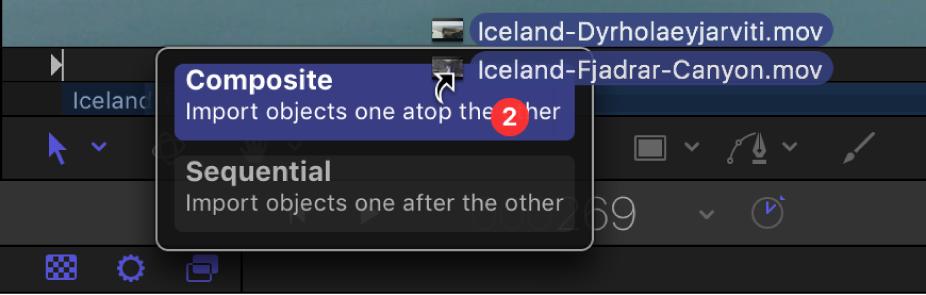 Mini-Timeline mit Drop-Optionen für mehrere ausgewählte Objekte