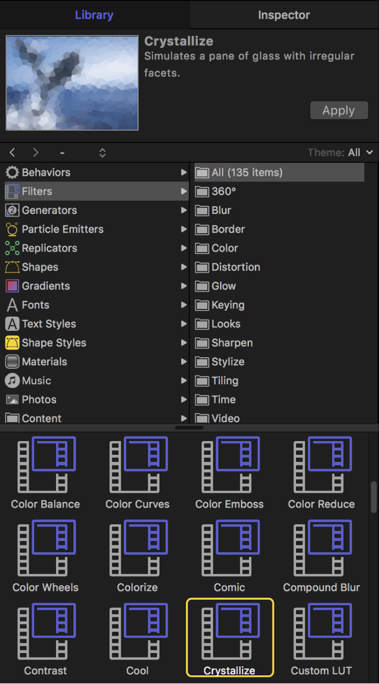 Mediathek mit den Filterkategorien