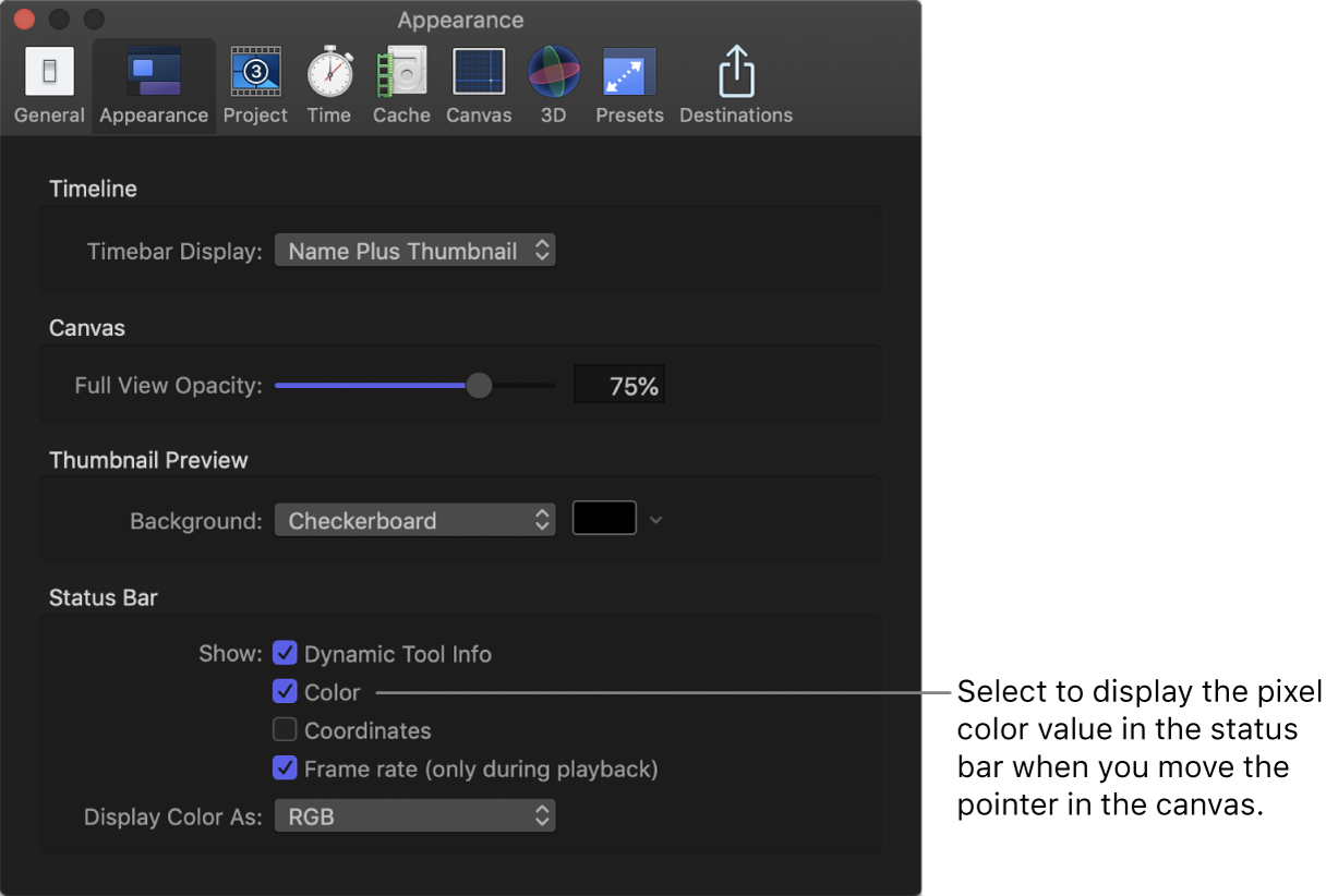 """Fenster """"Einstellungen"""" von Motion mit dem Bereich """"Erscheinungsbild""""> """"Statusleiste"""" und der ausgewählten Option """"Farbe"""""""