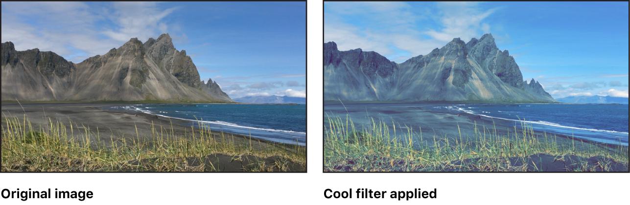 "Canvas mit dem Effekt des Filters ""Cool"""