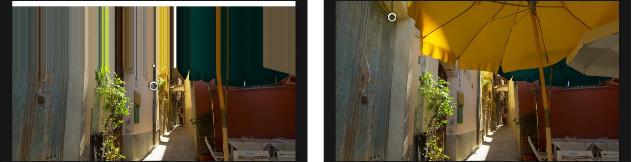 """Canvas mit einem Clip mit angewendetem Filter """"Verwischen"""""""