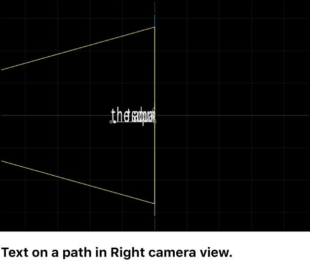 """Canvas mit der Kameraperspektive """"Rechts"""" für Text auf einem 3D-Pfad"""