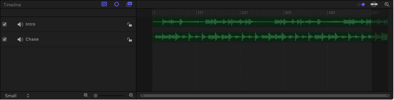 """Bereich """"Zeitverhalten"""" mit dem Audio-Editor"""