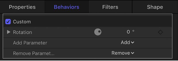 """Informationsfenster """"Verhalten"""" mit dem hinzugefügten Parameter"""