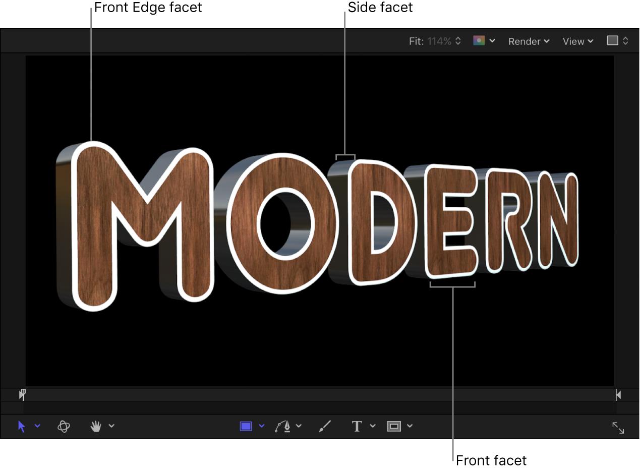 3D-Text im Canvas mit weißer Vorderkantenfacette, metallener Seitenfacette und hölzerner Vorderseitenfacette