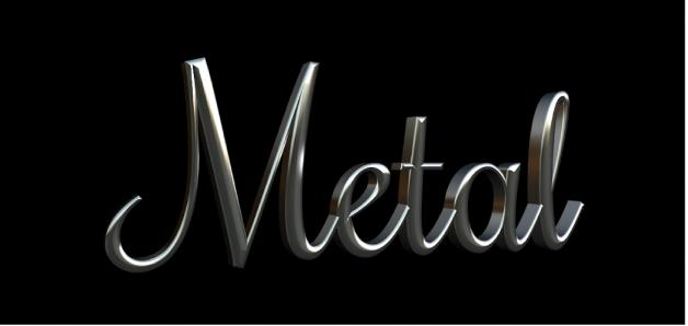 """3D-Text im Canvas mit angewendeter Metallsubstanz """"Aluminium"""""""