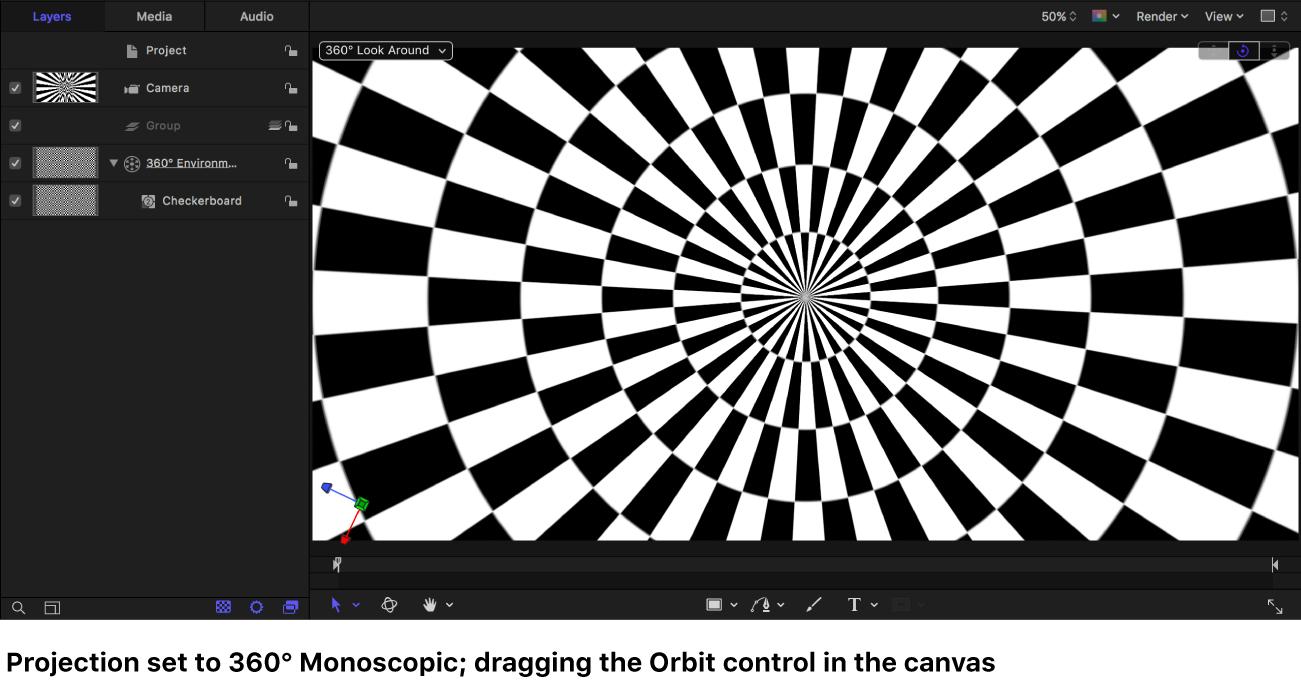 """Canvas mit Generator """"Schachbrettmuster"""", der in der Projektion """"360° monoskopisch"""" beim Bewegen des Steuerelements """"Umkreisen"""" angezeigt wird"""