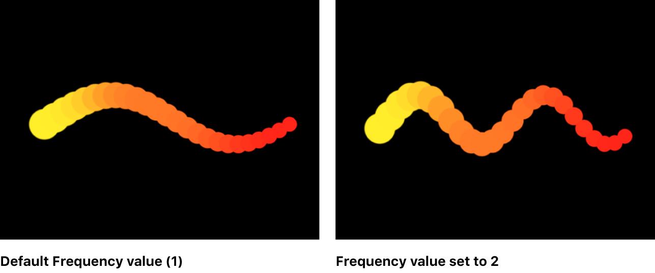 """Canvas mit einem Replikator, für den die Form """"Welle"""" unter Verwendung verschiedener Frequenzen eingestellt wurde"""