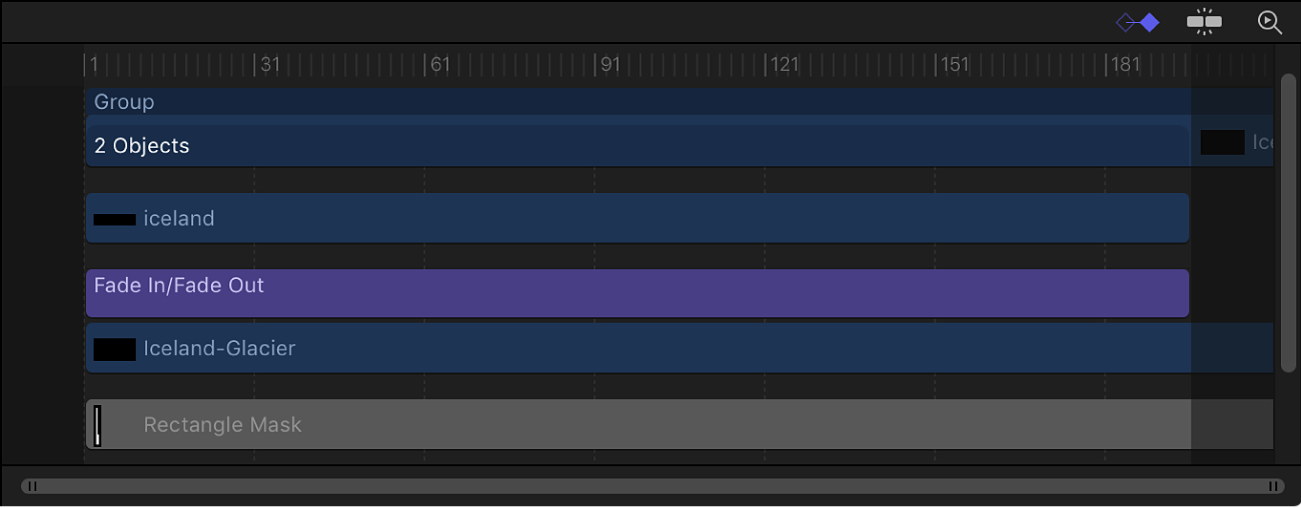 Timeline mit Spurenbereich