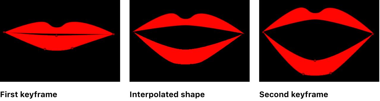 Canvas mit einer Form, die zwischen zwei Keyframes interpoliert wurde