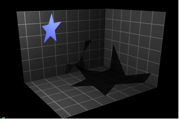 """Canvas mit einem Objekt, für das die Optionen """"Schatten empfangen"""" und """"Nur Schatten"""" aktiviert sind"""
