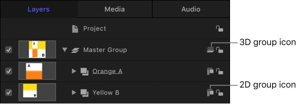 """Liste """"Ebenen"""" mit Symbolen für 2D- und 3D-Gruppen"""