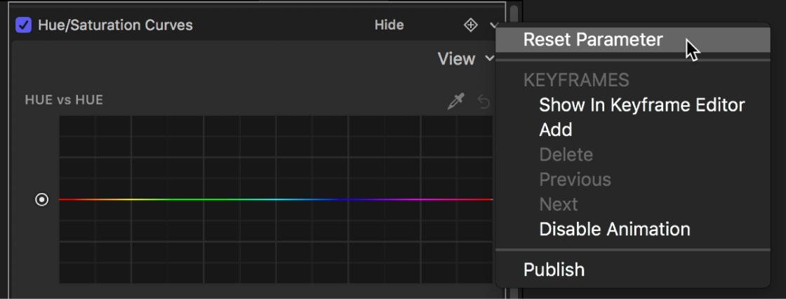 """Das Informationsfenster """"Filter"""" mit der Option """"Parameter zurücksetzen"""" im geöffneten Menü """"Animation"""""""