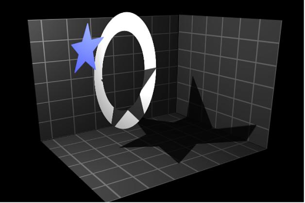 Canvas mit einem Objekt, auf das ein Schatten übertragen wird