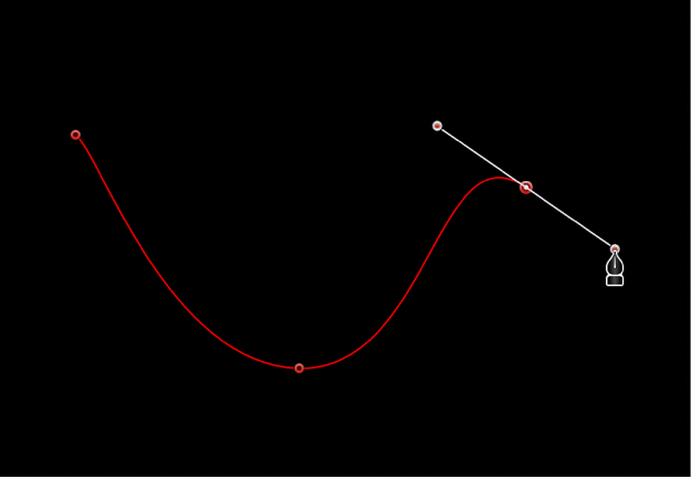 Canvas mit einem zur Kurve gezogenen Bezier-Punkt