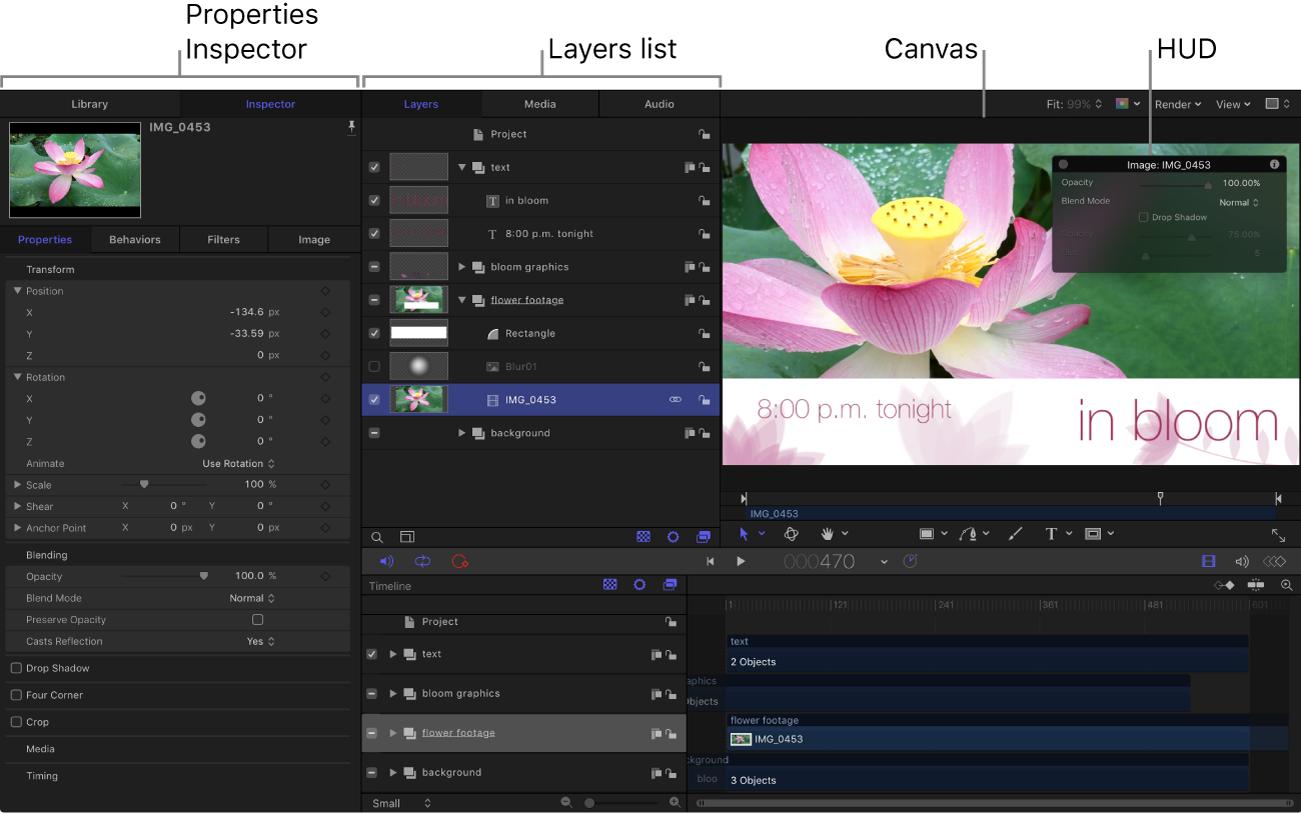 """Motion-Benutzeroberfläche mit dem Informationsfenster """"Eigenschaften"""", der Liste """"Ebenen"""", dem Canvas und der Schwebepalette"""