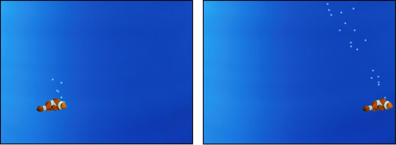 Canvas mit einem Partikelsystem, das einem anderen Objekt folgt