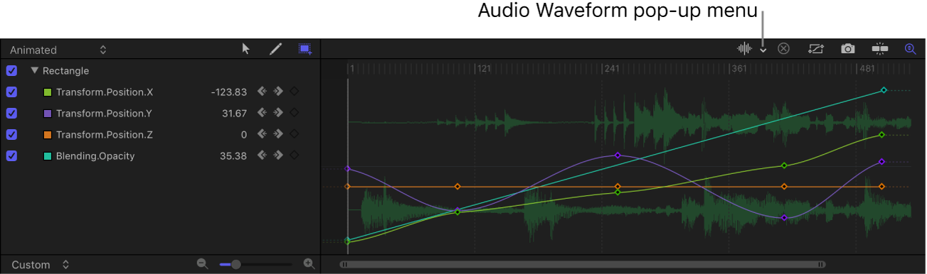 "Einblendmenü ""Audio-Wellenform"" im Keyframe-Editor"
