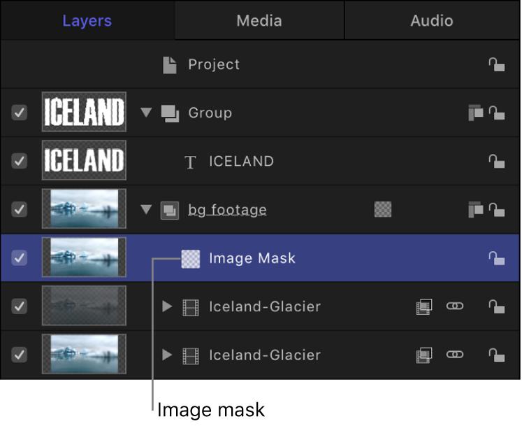 """Liste """"Ebenen"""" mit einem Objekt, auf das eine Bildmaske angewendet ist"""