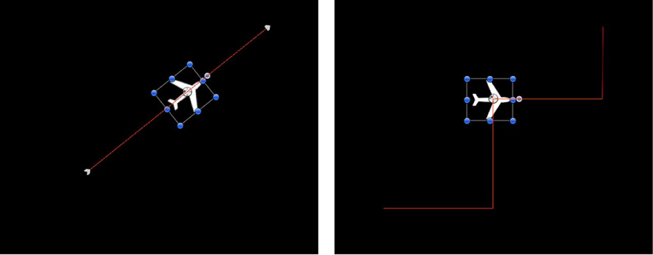 """Canvas-Fenster mit dem Effekt, der durch das Hinzufügen des Verhaltens """"Quantisierung"""" zu einem Objekt mit angewendetem Verhalten """"werfen"""" erzeugt wird"""