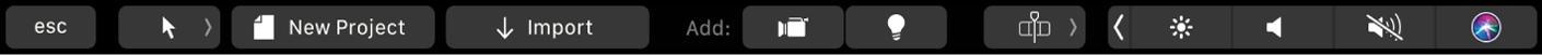 Touch Bar-Optionen für ein Motion-Projekt (ohne aktuelle Auswahl)