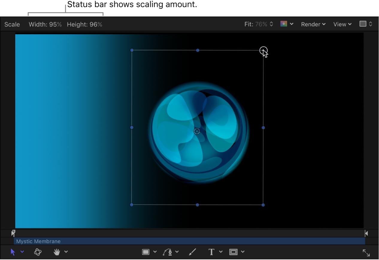 Canvas mit der Statusleiste, die beim Skalieren eines Objekts angezeigt wird