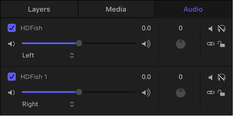 """Liste """"Audio"""" mit Stereokanälen"""