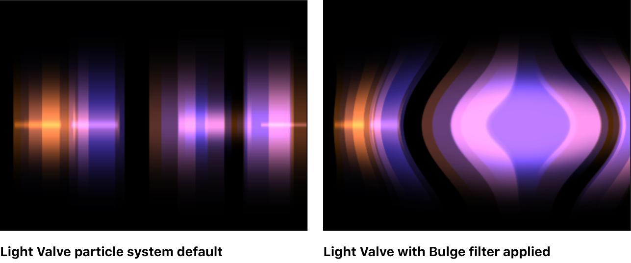 Canvas mit einem auf einen Partikelemitter angewendeten Filter