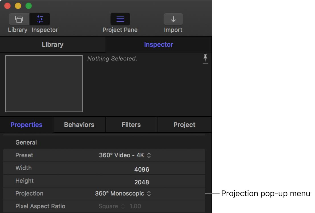 """Einblendmenü """"Projektion"""" im Informationsfenster """"Projekteinstellungen"""""""