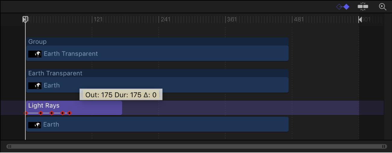 Timeline mit Keyframes, der Position sich nicht ändert, wenn die Ebene getrimmt wird