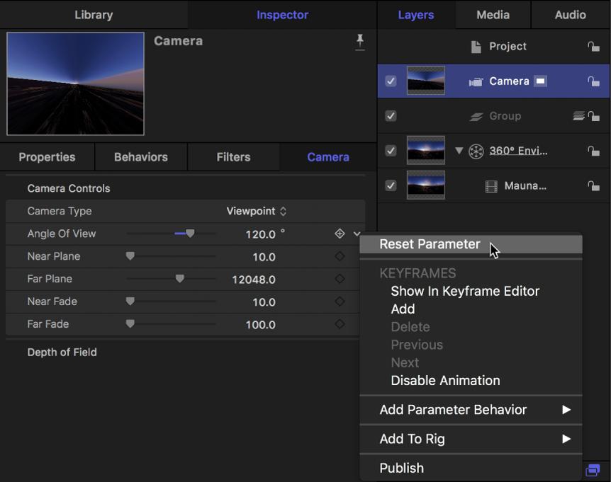 """Zurücksetzen des Parameters """"Blickwinkel"""" im Informationsfenster """"Kamera"""""""