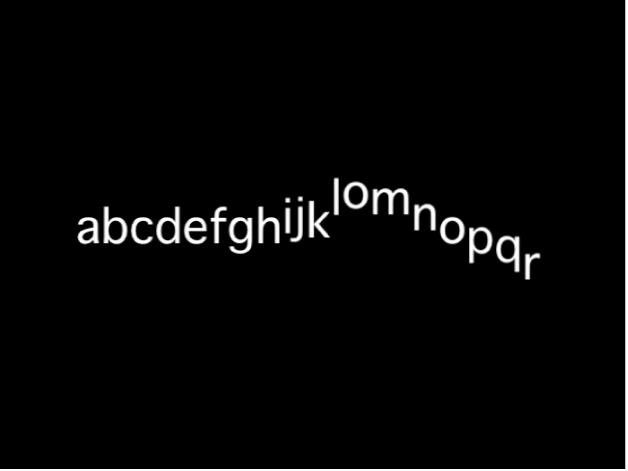Canvas mit einer Textsequenz mit einem Versatz der Y-Position unter Verwendung eines niedrigen Varianzwerts
