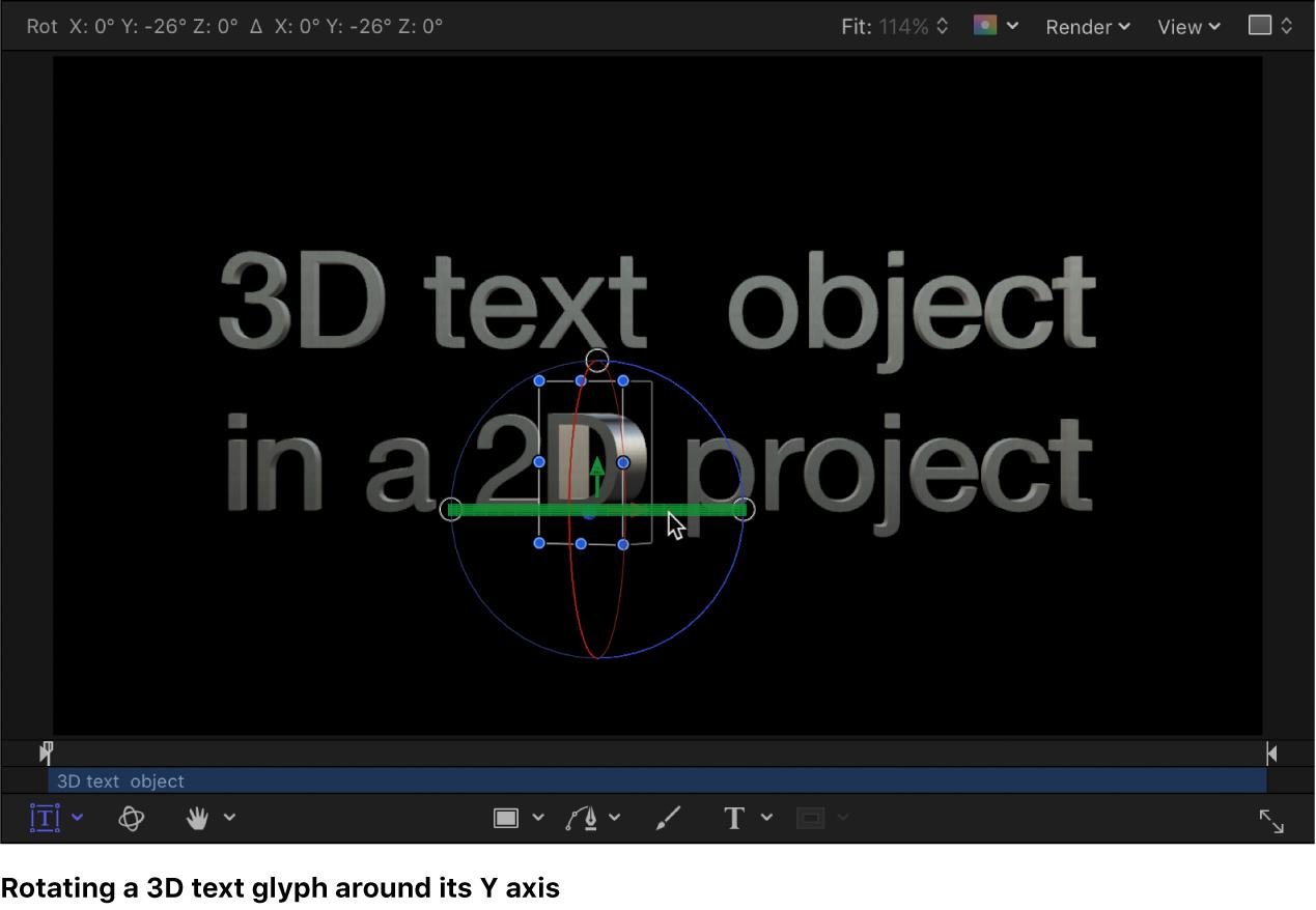 3D-Textglyphe entlang der X-Achse im Canvas drehen