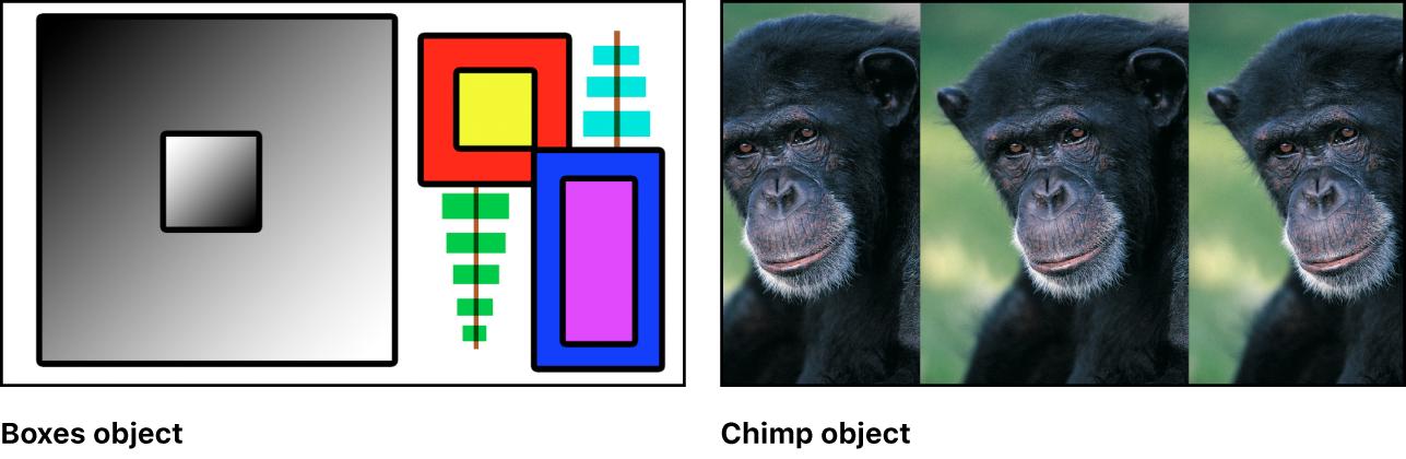 Zwei Quellenbilder: Eine Sammlung von Farbfeldern und ein Foto eines Affen