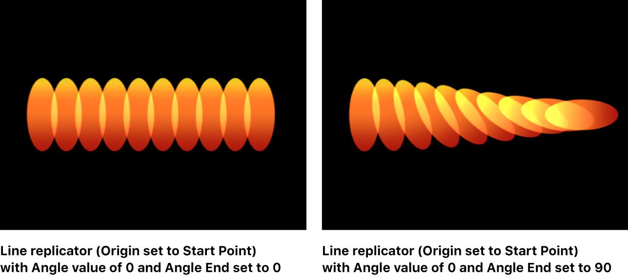 """Canvas mit dem Replikator """"Linie"""", bei dem für """"Winkelende"""" ein anderer Wert als für """"Winkel"""" festgelegt wurde"""