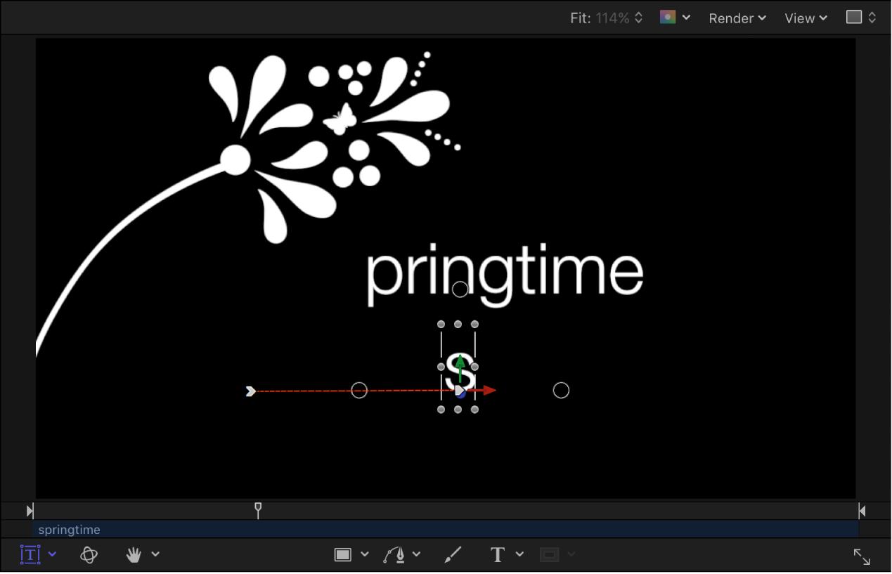 Canvas mit der Endposition der Animation und einem sichtbaren Animationspfad