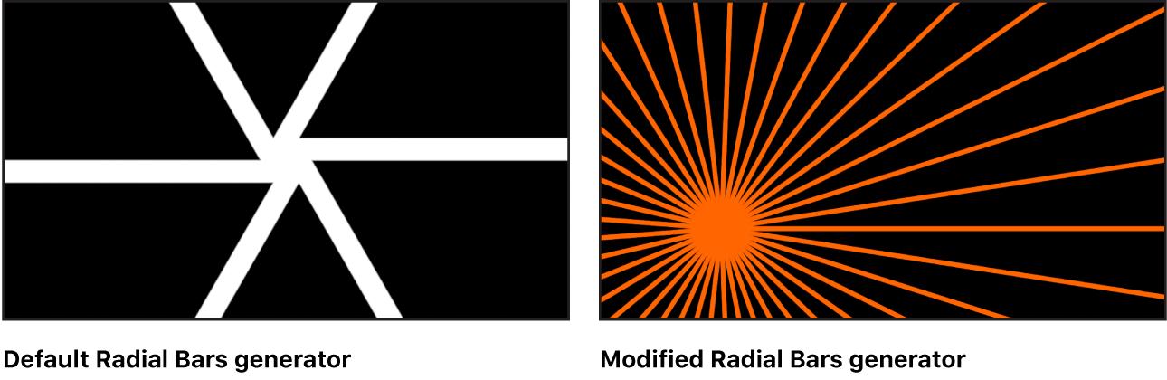 """Canvas mit dem Generator """"Radiale Balken"""" und verschiedenen Einstellungen"""
