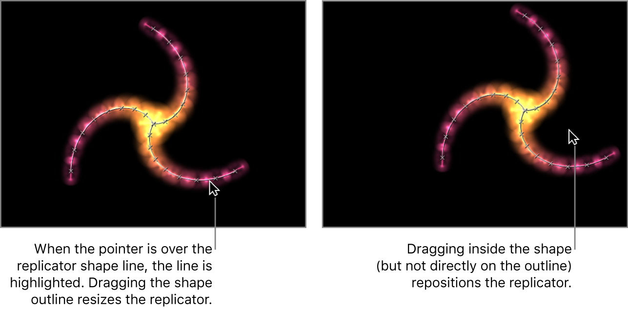 Canvas mit den Onscreen-Steuerelementen für einen Replikator