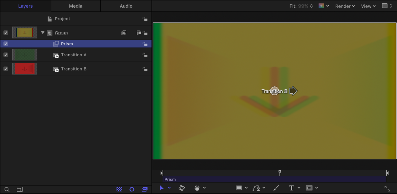 """Canvas mit Filtereffekt """"Prisma"""" für Übergang B"""