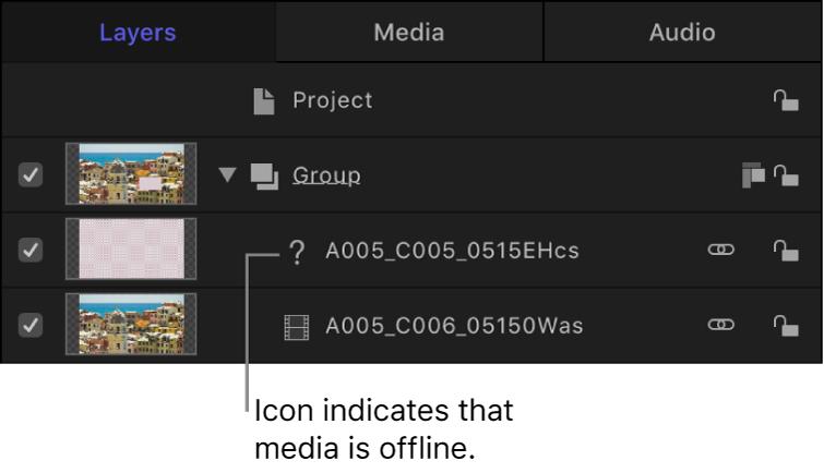 """Liste """"Ebenen"""" mit Symbol für Offline-Medien"""