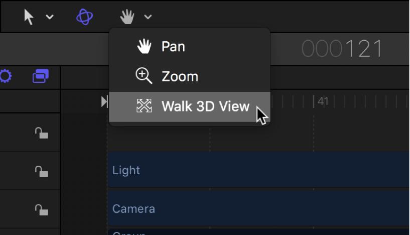 """Werkzeug """"3D-Darstellung (Kameragang)"""" in der Symbolleiste auswählen"""