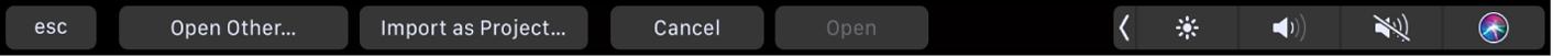 Touch Bar-Optionen für die Projektübersicht