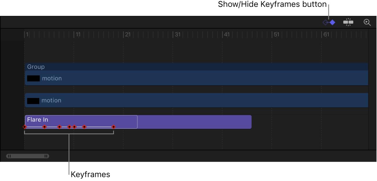 """Timeline mit der Taste """"Keyframes ein-/ausblenden"""" und sichtbaren Keyframes in einem Verhalten """"Textsequenz""""."""
