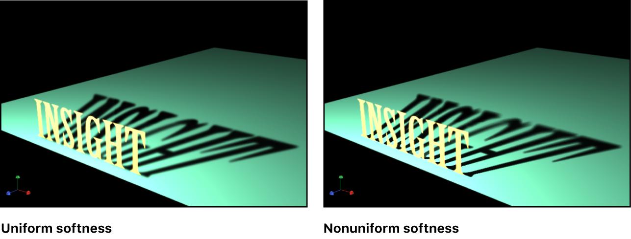 Canvas mit einem Objekt, bei dem die gleichmäßige Weichheit des Schattens aktiviert und deaktiviert ist