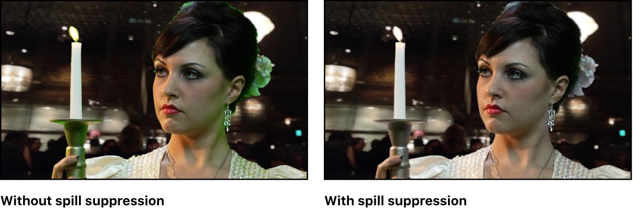 Ausgestanztes Bild mit und ohne Farbkorrektur durch Unterdrücken von überschüssigen Farben