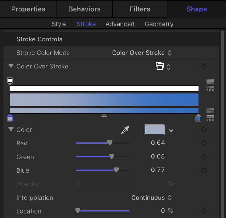 Stroke pane showing expanded gradient editor for Color Over Stroke parameter