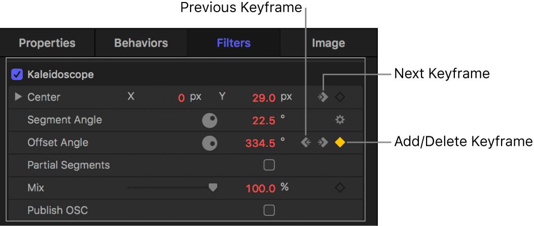 Inspector showing Previous Keyframe, Add/Delete Keyframe, and Next Keyframe controls