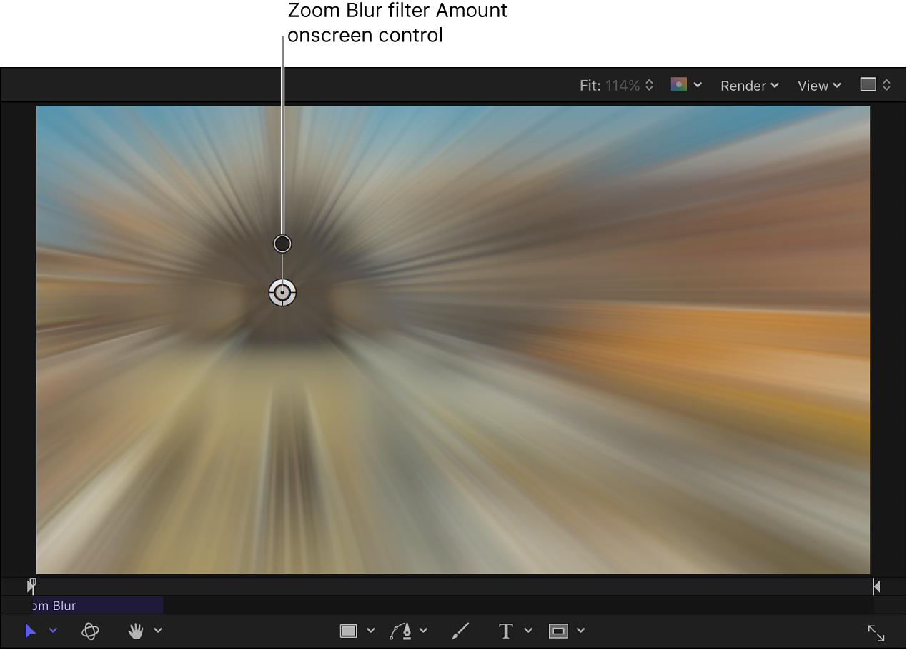Zoom Blur filter Amount onscreen control