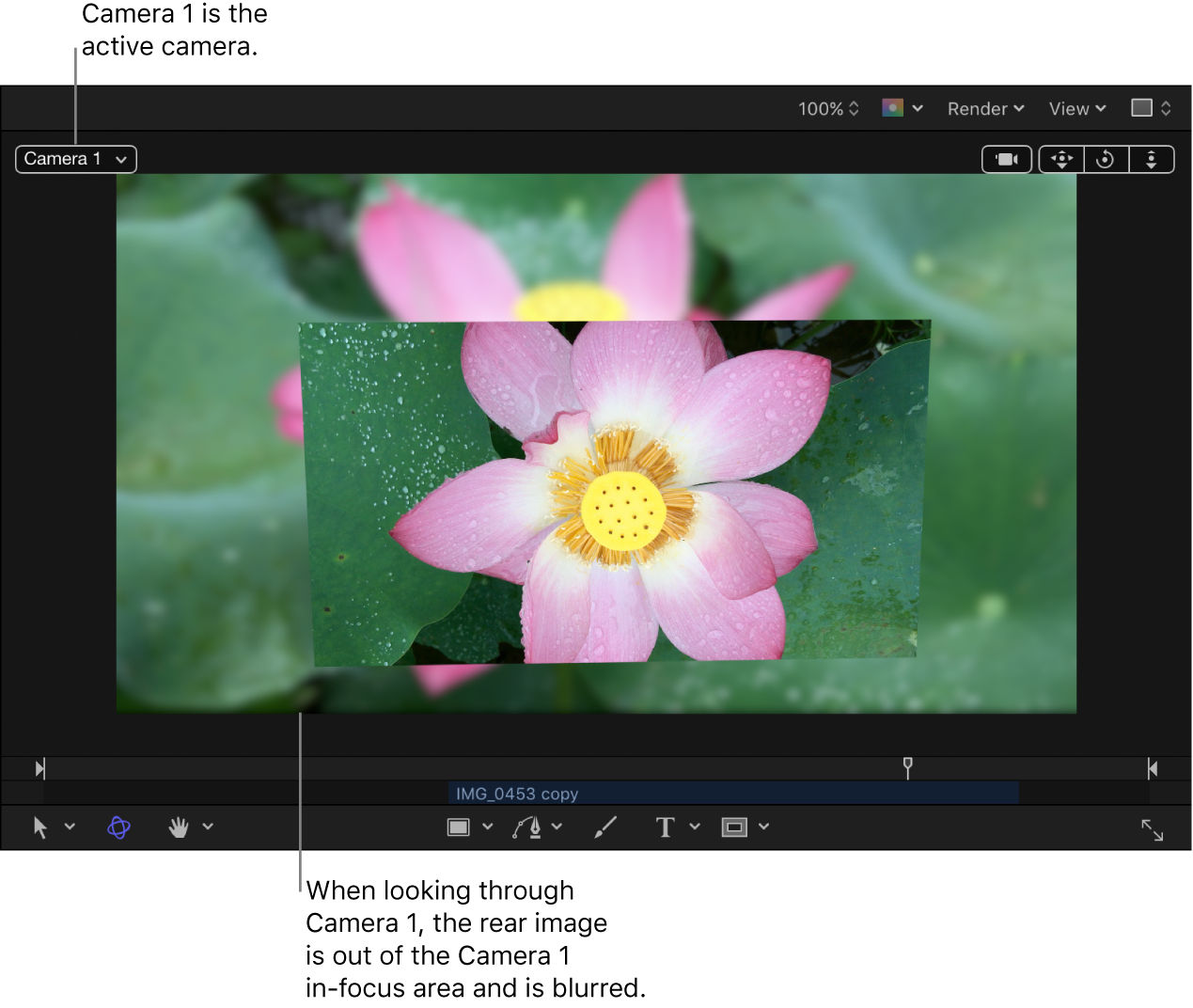Canvas showing camera with depth-of-field effect visible