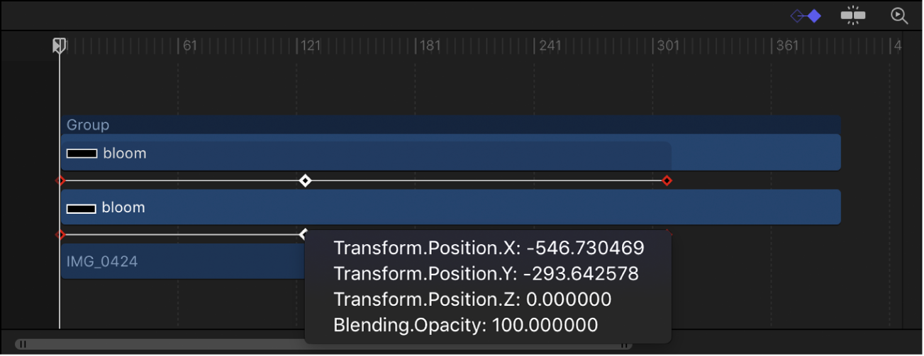 Keyframe shortcut menu displaying keyframed parameters at the current frame